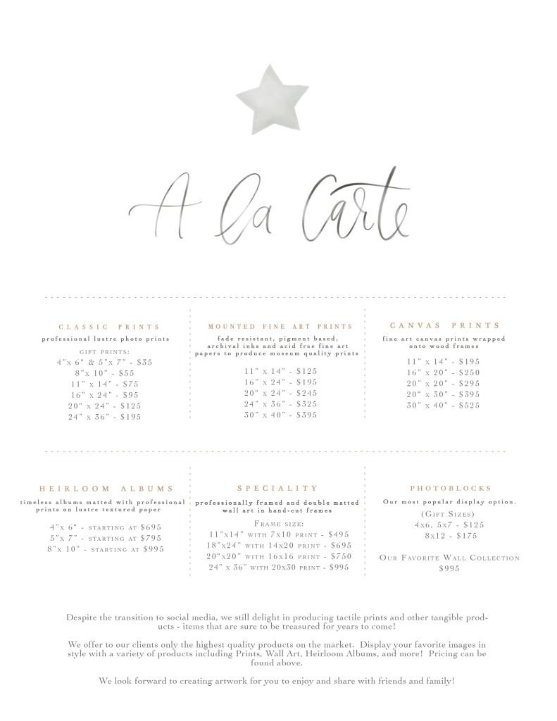 A La Carte pricing